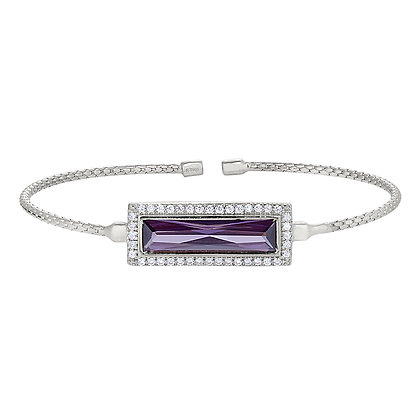 Sterling Silver February Birthstone Cuff Bracelet