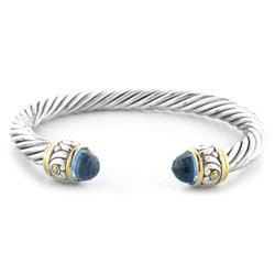 Silver-Tone Bangle Aqua Bracelet