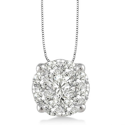 14K White Gold .25 cttw Diamond Cluster Necklace