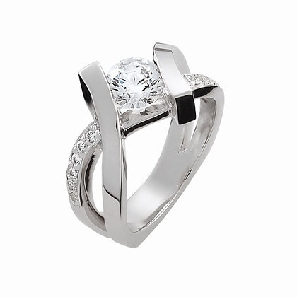 14k White Gold and Diamond Semi Ring