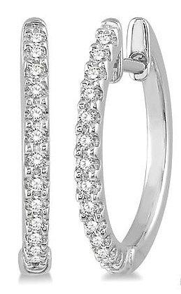 10K White Gold Diamond Hoop Earrings