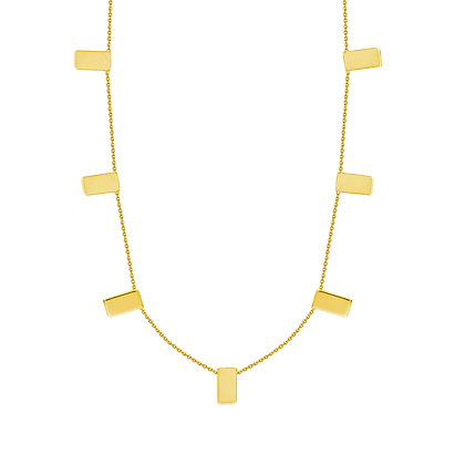"14K Yellow Gold Seven Rectangle 16"" Necklace"