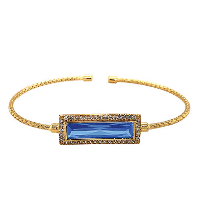 Sterling Silver December Birthstone Cuff Bracelet