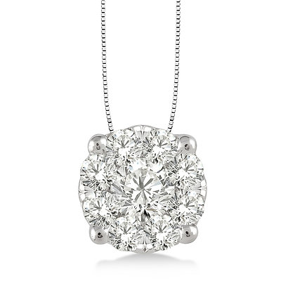 14K White Gold .50 cttw Diamond Cluster Necklace