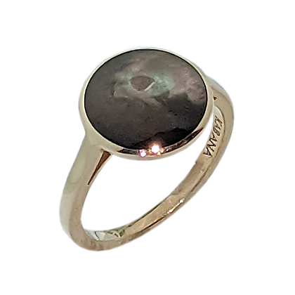 Simple 14K Yellow Gold Bronze Mother of Pearl Ring