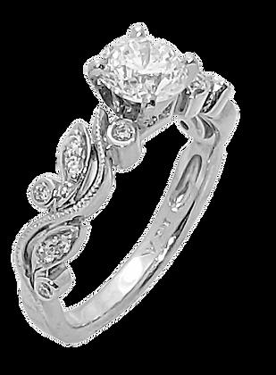 14K White Gold Filigreed Fancy Diamond Engagement Ring