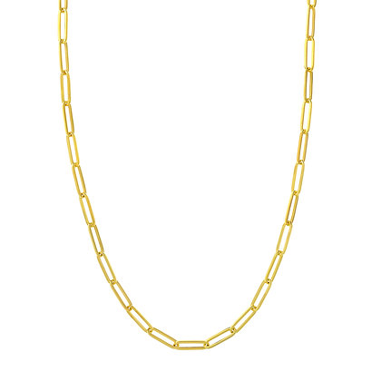 """14K Yellow Gold Paper Clip Chain 18"""" Necklace"""