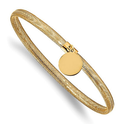 14K Yellow Gold Mesh Bracelet with Charm