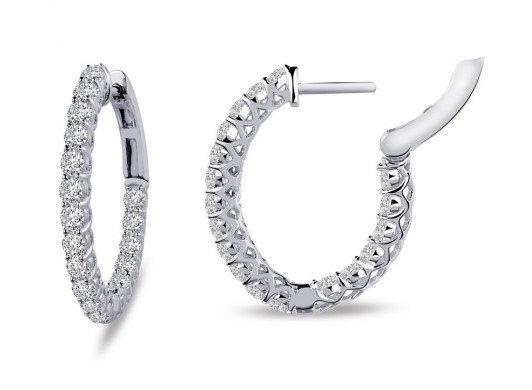 Sterling Silver Platinum Finish Small Inside Outside Hoop Earrings