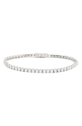 Sterling Silver Platinum Finish Tennis Bracelet with Simulated Stones
