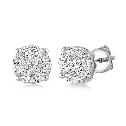 14K White Gold .75 cttw Diamond Cluster Earrings