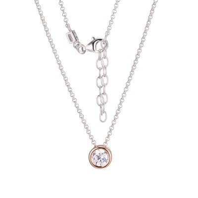 Silver and Gold Tone Bezel Set Simulated Diamond Necklace