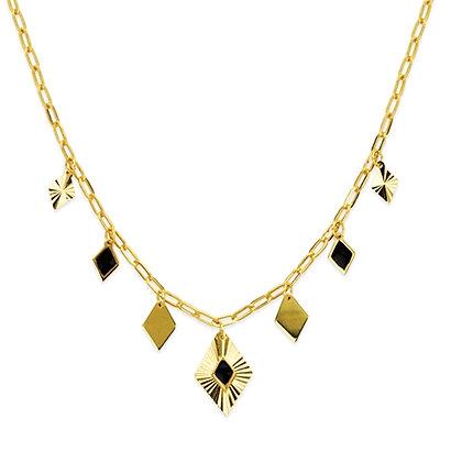 14K Gold Dangle Black Enamel Rhombus Necklace