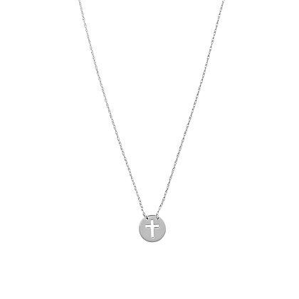 14K White Gold Disc with Cross