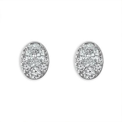 14K White Gold Oval Stud Earrings