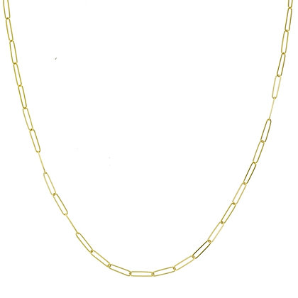 14K Yellow Gold Paper Clip Chain Necklace