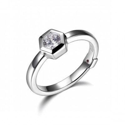 Sterling Silver Ring with Simulated Diamonds