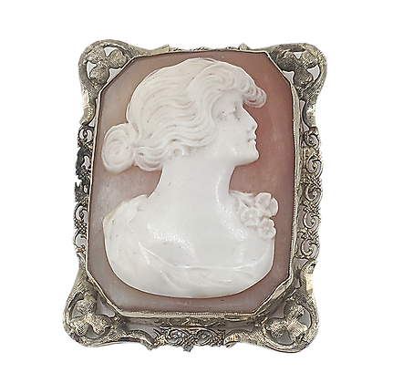 Italian Carved Shell Cameo with Gold Filled Frame