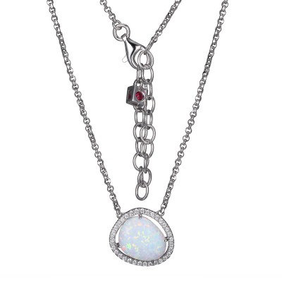 Beautiful Synthetic Opal Necklace on Sterling Silver Rhodium Necklace