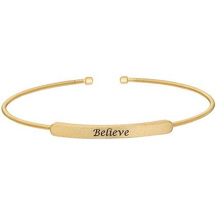 Sterling Silver Gold Tone 'Believe' Cuff Bracelet
