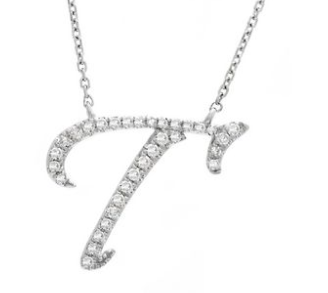14K White Gold Letter T Diamond Initial Necklace