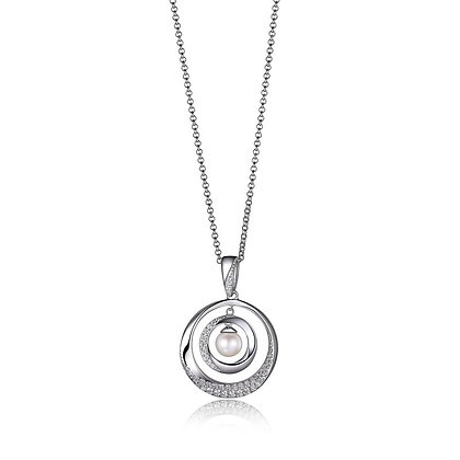 """Sterling Silver Double Circle with Pearl 18"""" Necklace"""