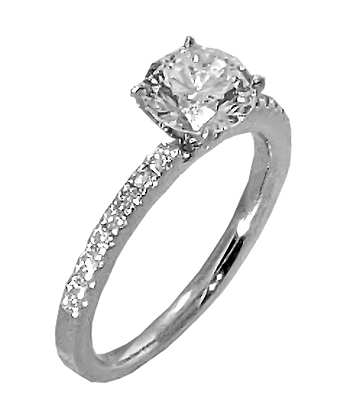"""Man Made"" Diamonds"" 14K White Gold Shared Prong Diamond Engagement Ring"