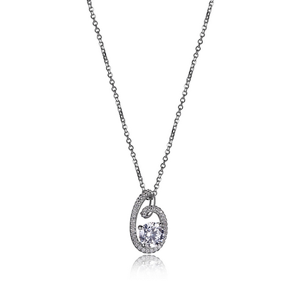 "Promises Collection Sterling Silver Rhodium Plated 19"" Necklace"