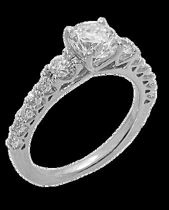 14K White Gold Shared Prong Diamond Engagement Ring