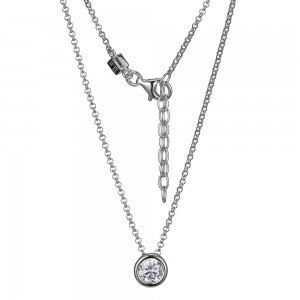 Bezel Set Simulated Diamond Sterling Silver Rhodium Necklace