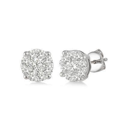 14K White Gold .35 cttw Diamond Cluster Earrings