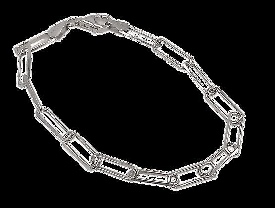 Sterling Silver Paper Clip Chain Bracelet