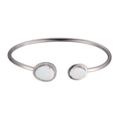Sterling Silver Synthetic Opal & Diamonds Bangle Bracelet