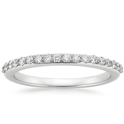 White 14 K Shared Prong Diamond Wedding Ring