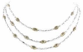 3 Strand Bead Silver-Tone Bracelet
