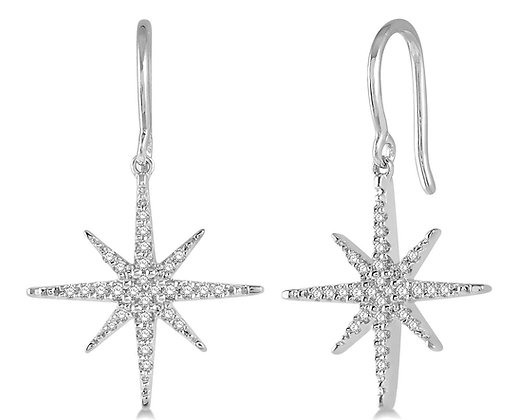 10K White Gold Diamond Star Earrings