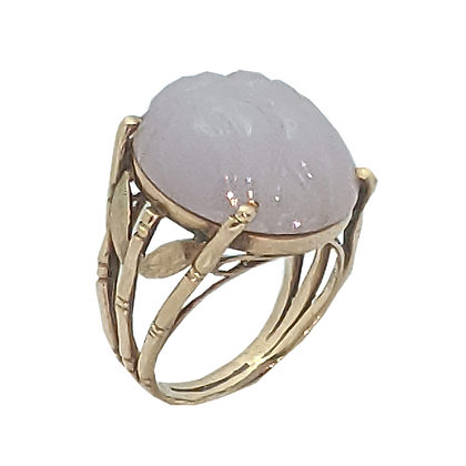 14K Yellow Gold Carved, Lavender Jade Ring