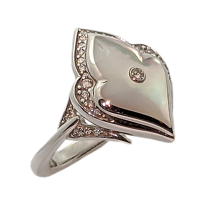 Unique White Mother of Pearl Ring with Diamonds