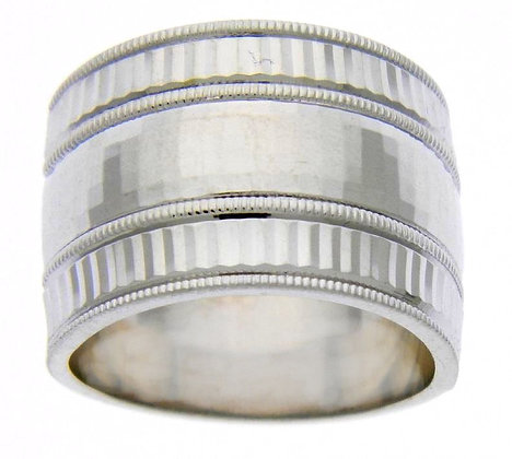 Sterling Silver Hammered Wide Ring