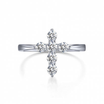 Sterling Silver with Platinum Finish Cross Ring