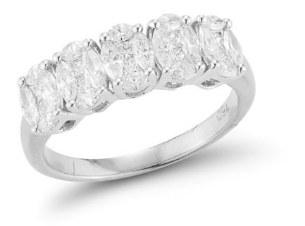 14K White Gold 5 Stone Oval Mosaic Diamond Ring