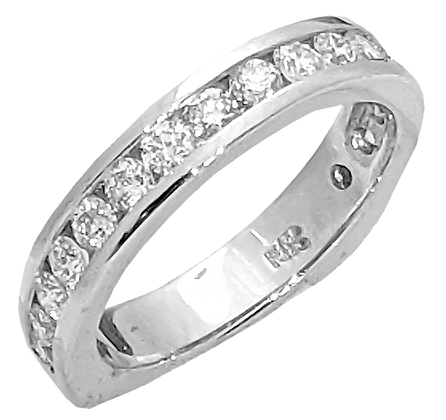 14K White Gold Channel Set Diamond Wedding Ring