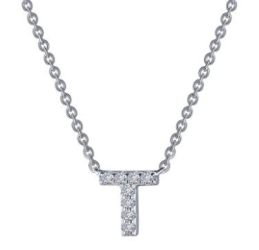 Letter 'T' Platinum-Plated Simulated Diamond Necklace