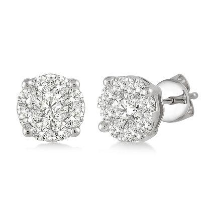 14K White Gold 1.00 cttw Diamond Cluster Earrings