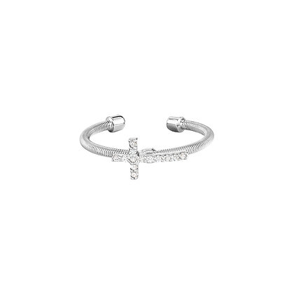 Sterling Silver Rhodium Finish Cross Cuff Ring