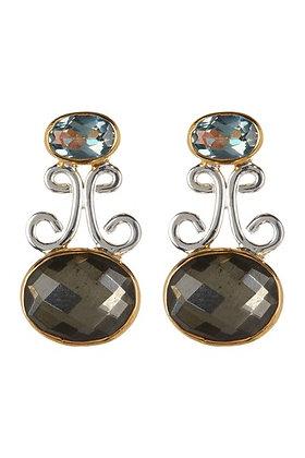 Pyrite Quartz Drop Earrings