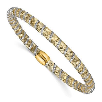 14K Two Tone Stretch Mesh Bracelet