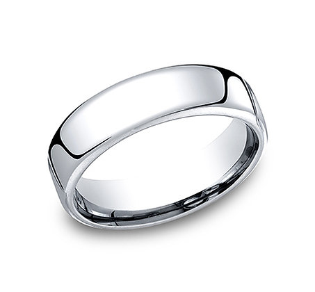 White Gold Comfort Fit Men's Wedding Band