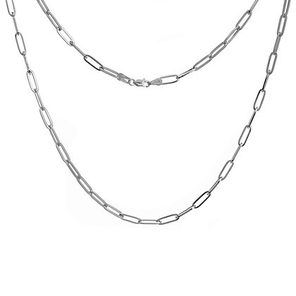 Sterling Silver Paper Clip Chain 18 Inch Necklace