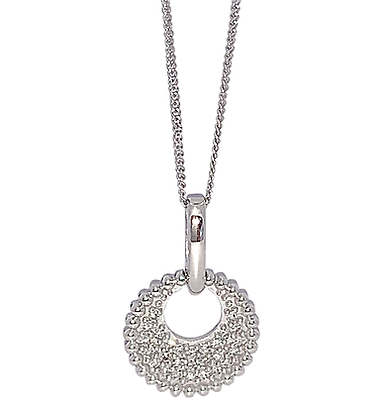 14K White Gold Diamond Circle Necklace